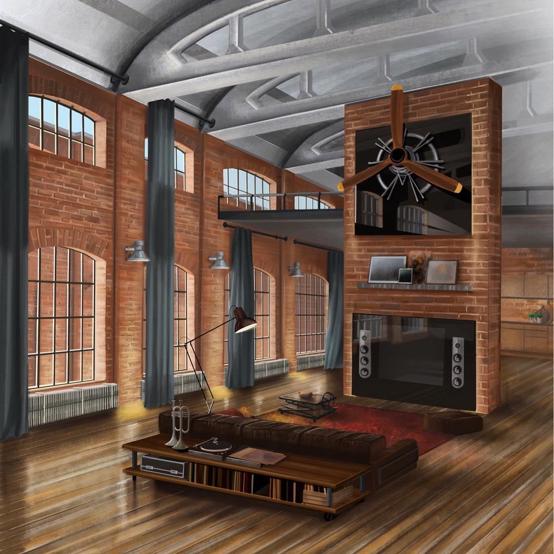 Realistische tekening van een oud pakhuis