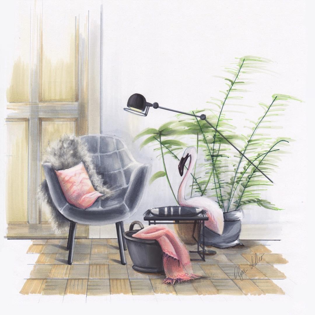 Realistische tekening stoel met Kraanvogel
