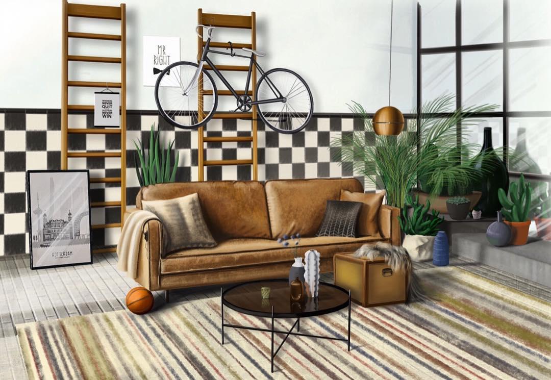Realistische tekening Woonkamer met bank en fiets