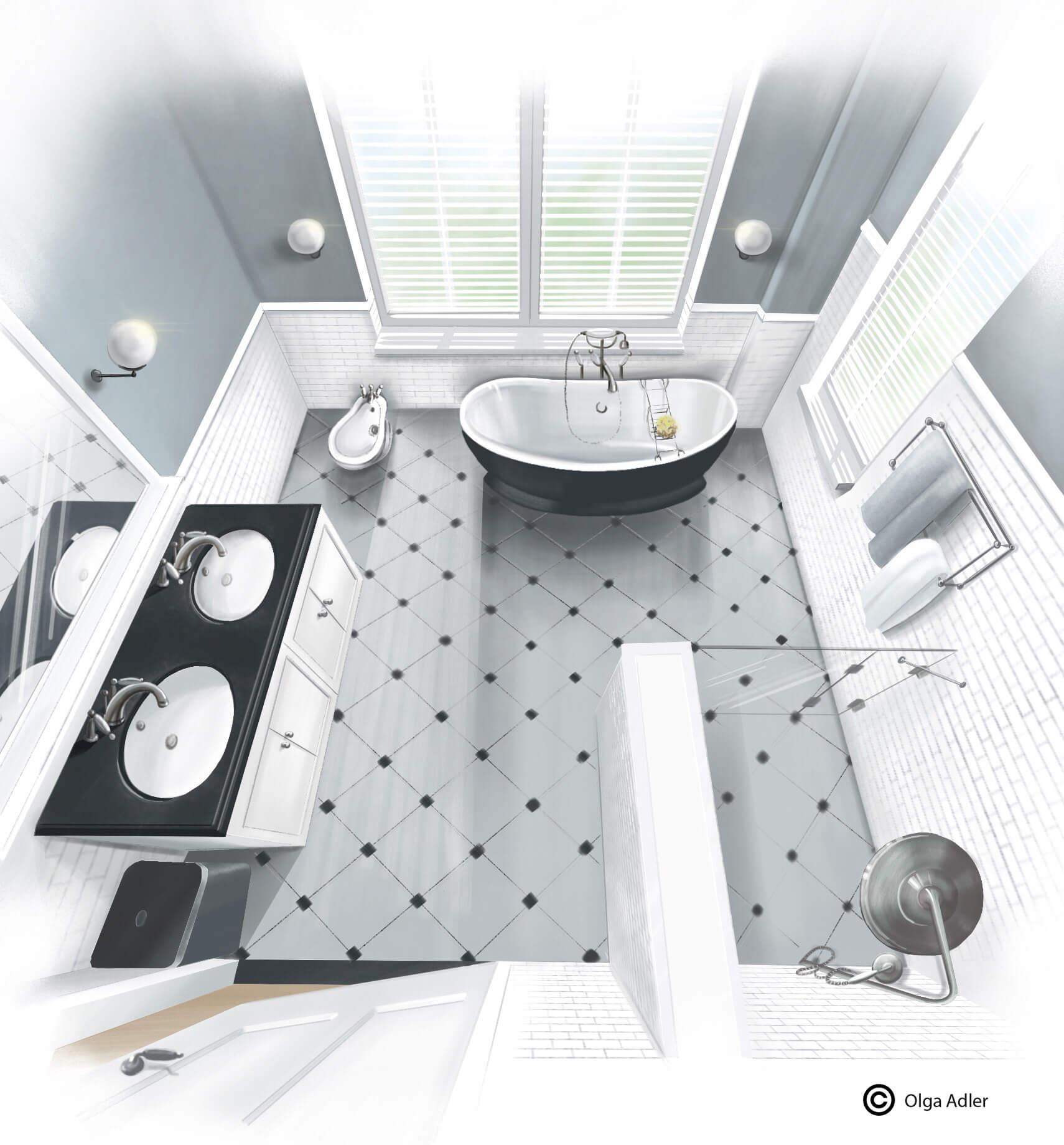 Realistische tekening Badkamer van boven af gezien in perspectief | Interior Sketch
