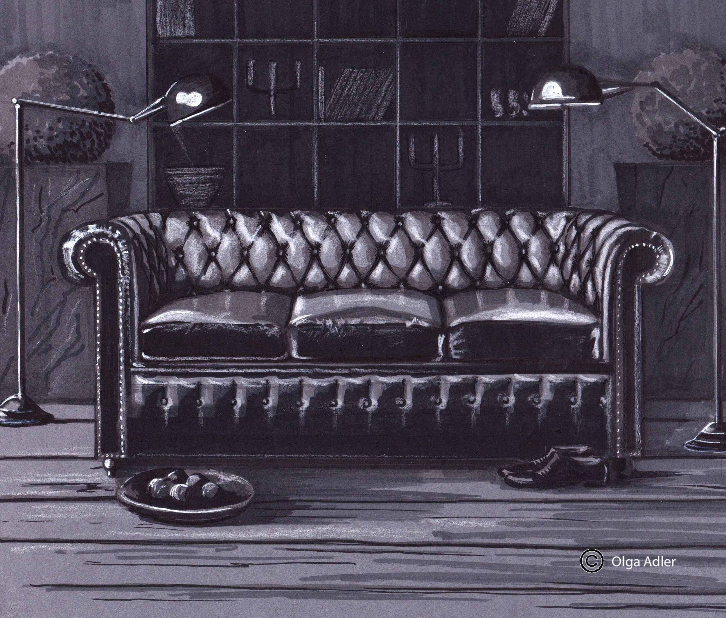 Donkere sofa | Interior Sketch