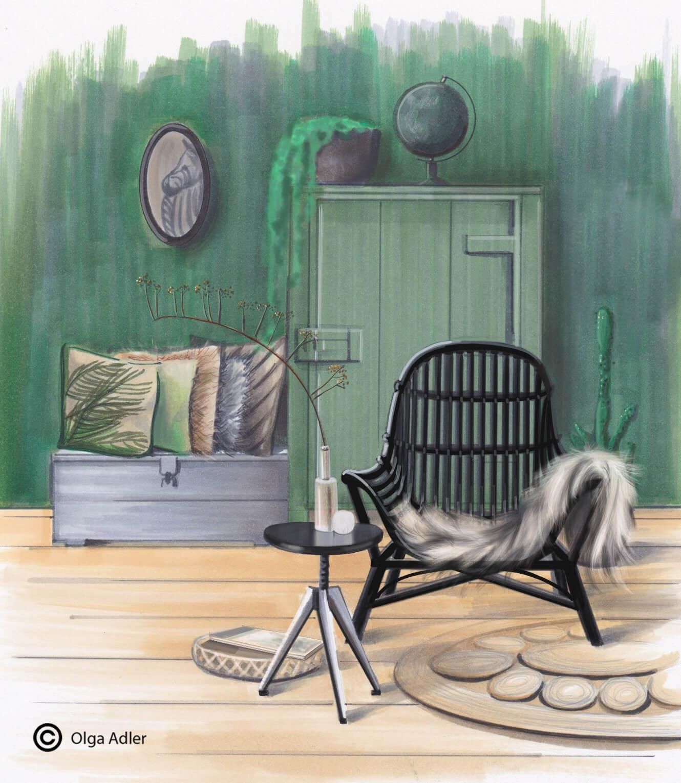 Groen interieur met stoel en vacht en kussens | Interior Sketch
