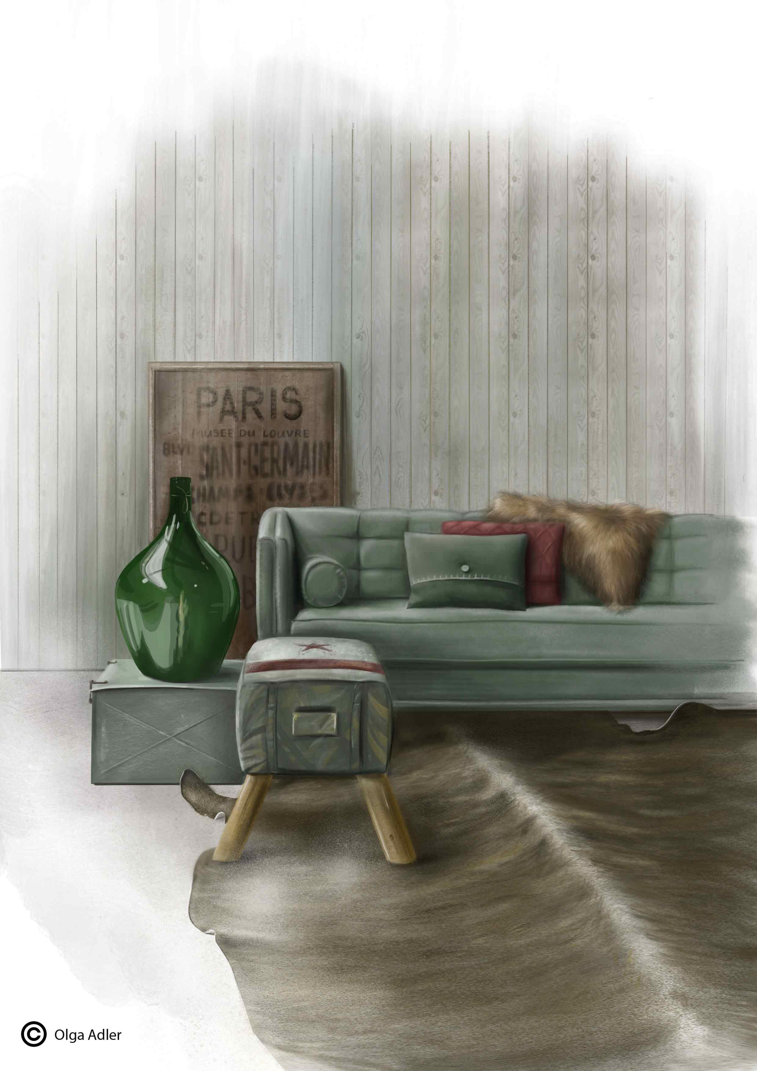 Interieur met groene vaas en vacht op de bank | Interior Sketch