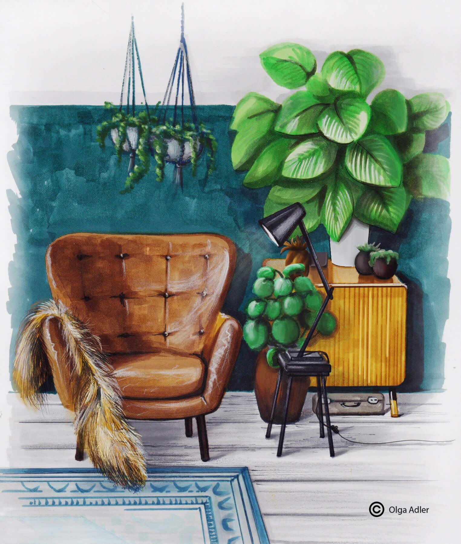 bruine leren fauteuil en leeslamp | Interior Sketch