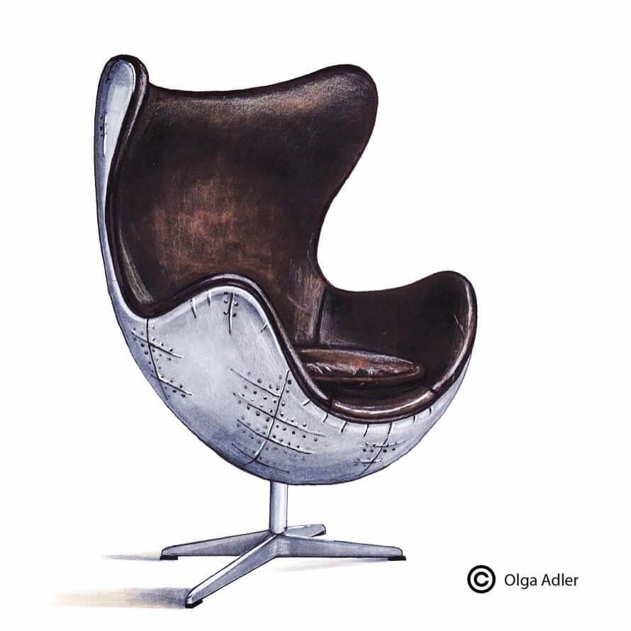 Leren fauteuil 3D moderne kunst bruin perspectief tekening | Interior Sketch
