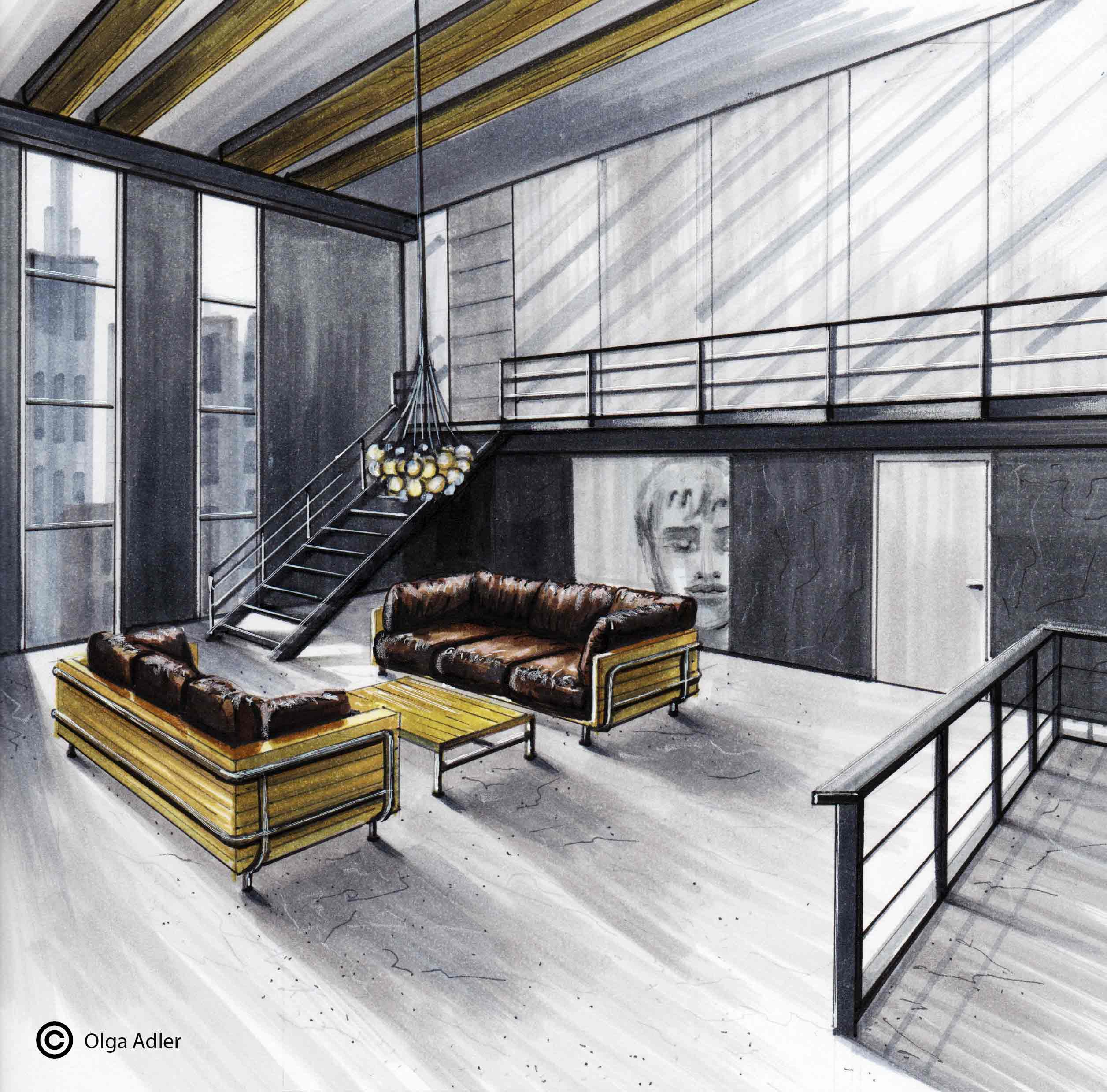 Loft met trap balustrade en banken | Interior Sketch