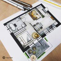 Plattegrond tekening appartement | Interior Sketch