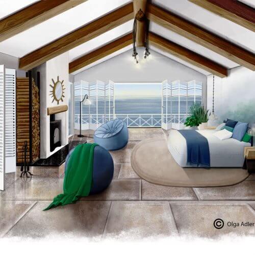 Strandhuisje   Interior Sketch
