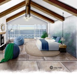 Tekening strandhuisje met zeegezicht en bed