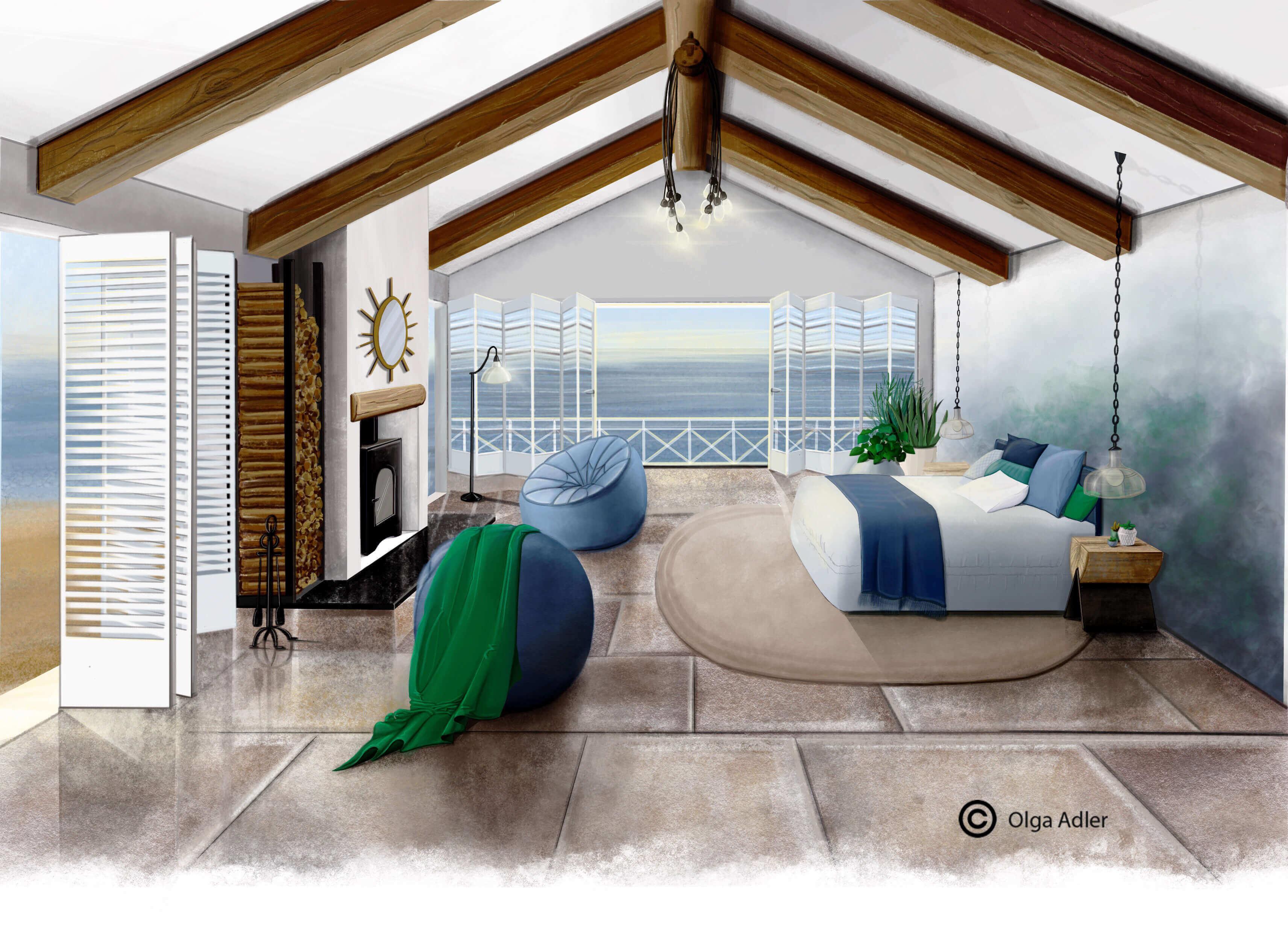 Strandhuisje met zee uitgezicht | Interior Sketch
