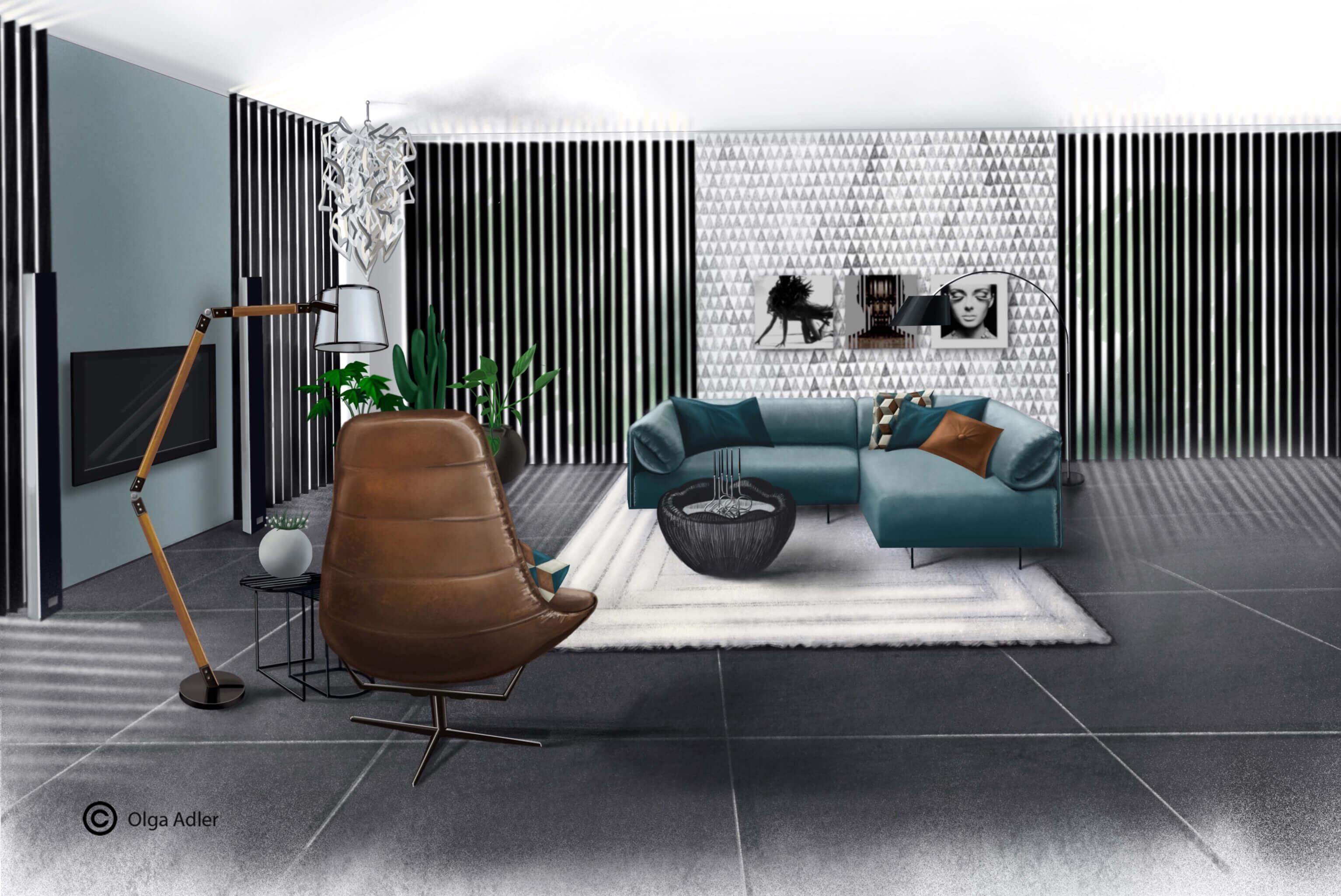 Utrecht woonkamer met bank, Fauteuil en staande leeslamp | Interior Sketch