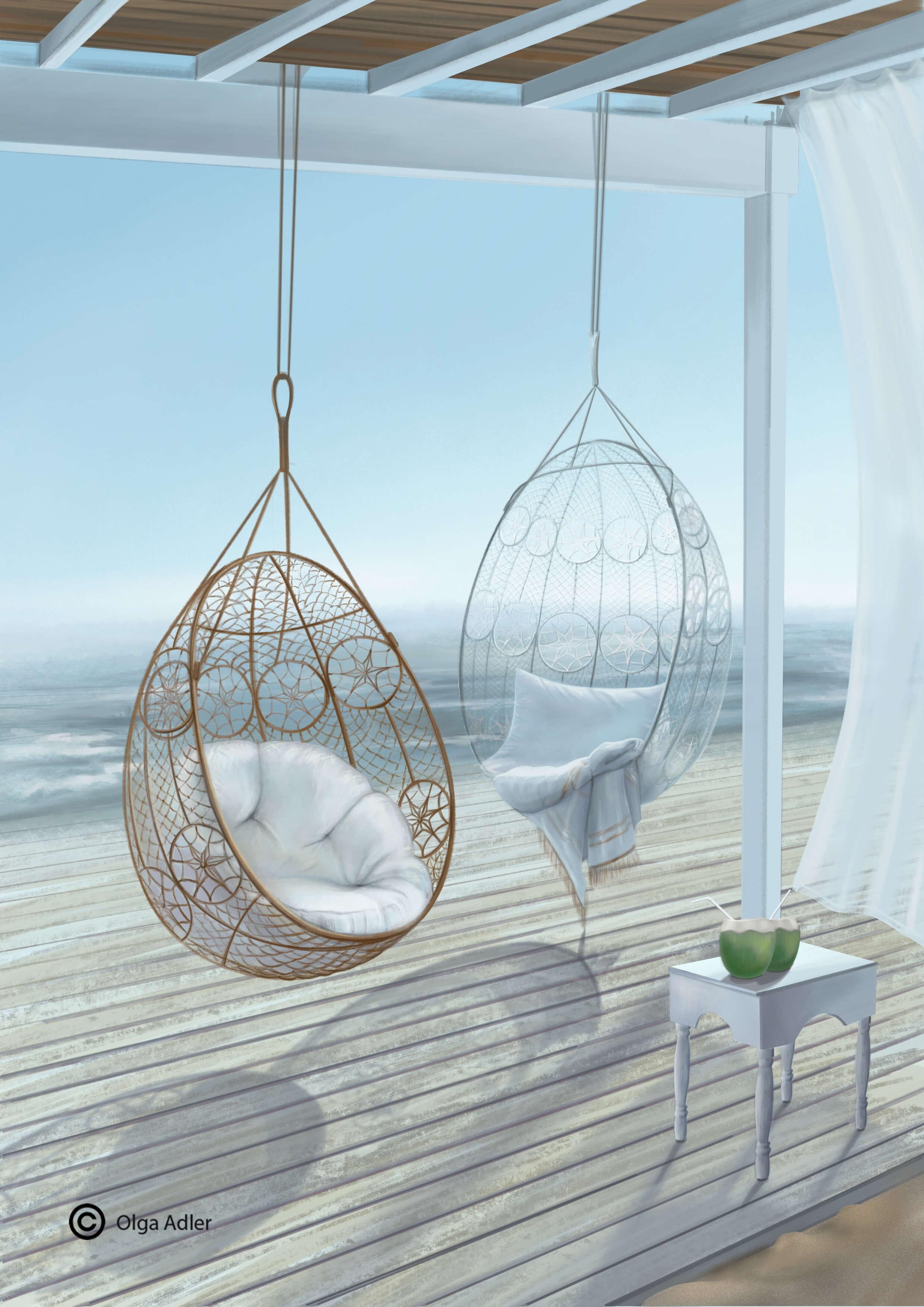 Vakantie zeegezicht met hangstoelen op het terras | Interior Sketch