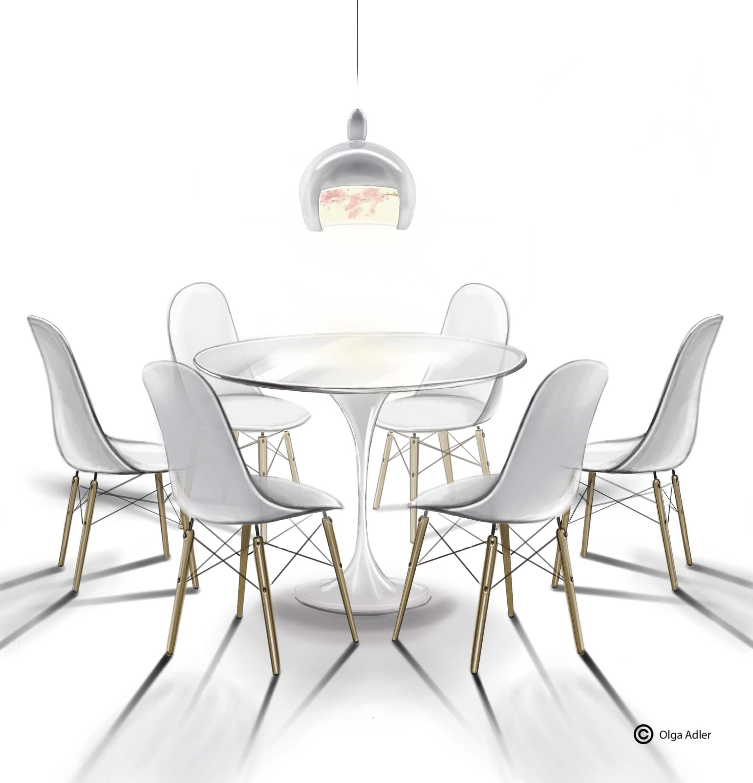 Wit op wit eettafel met kuipjes kuipstoelen | Interior Sketch