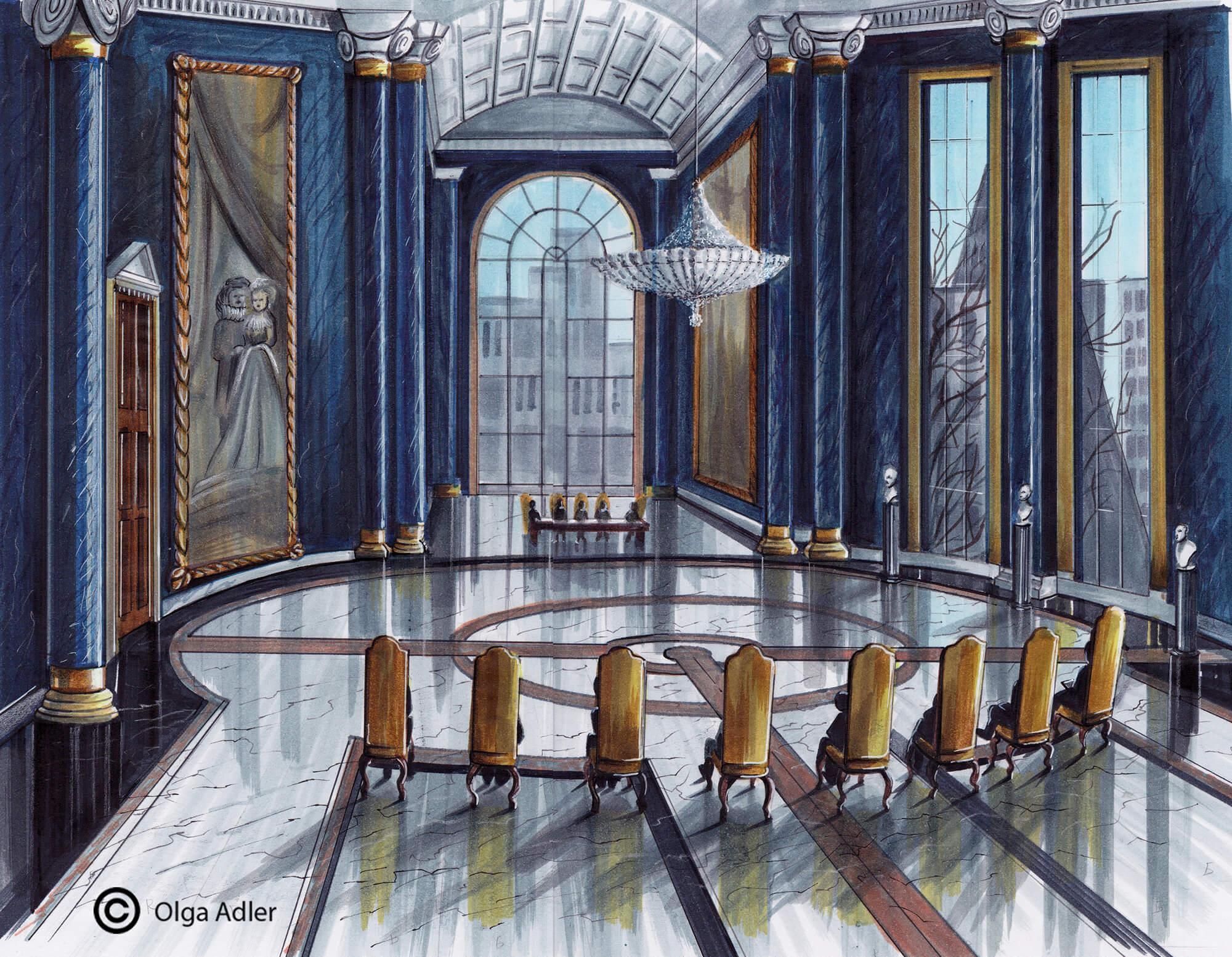 Perspectief tekening grote koningszaal met kroonluchter | Interior Sketch