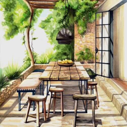 Zomers terras in Italië | Interior Sketch
