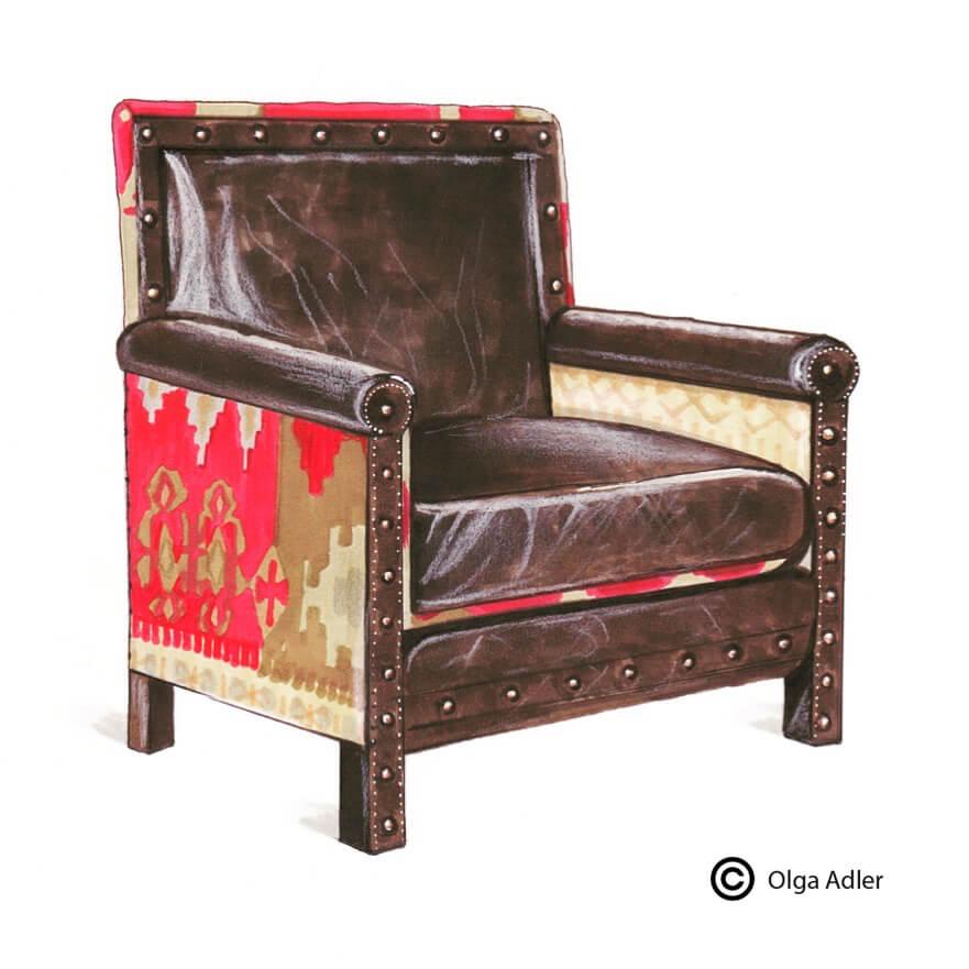 oude Leren fauteuil | Interior Sketch