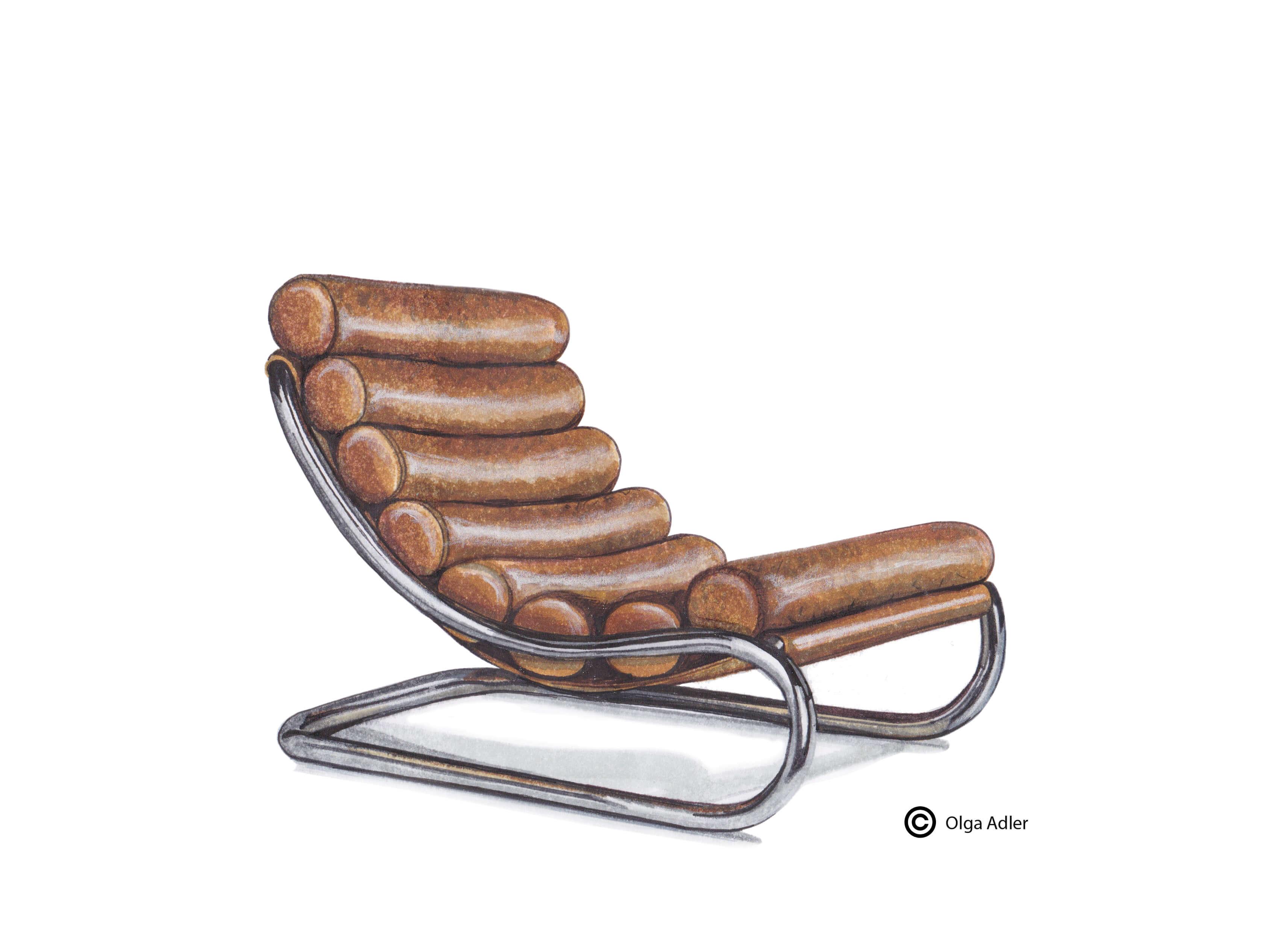 tekening Leren luie lig stoel | Interior Sketch