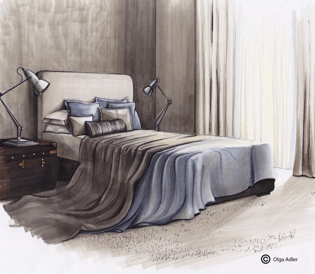 Slaapkamer met bed, slaaplampjes en gedrapeerde sprei | Interior Sketch