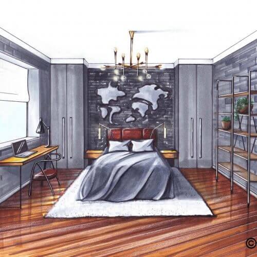 Slaapkamer grijs   Interior Sketch