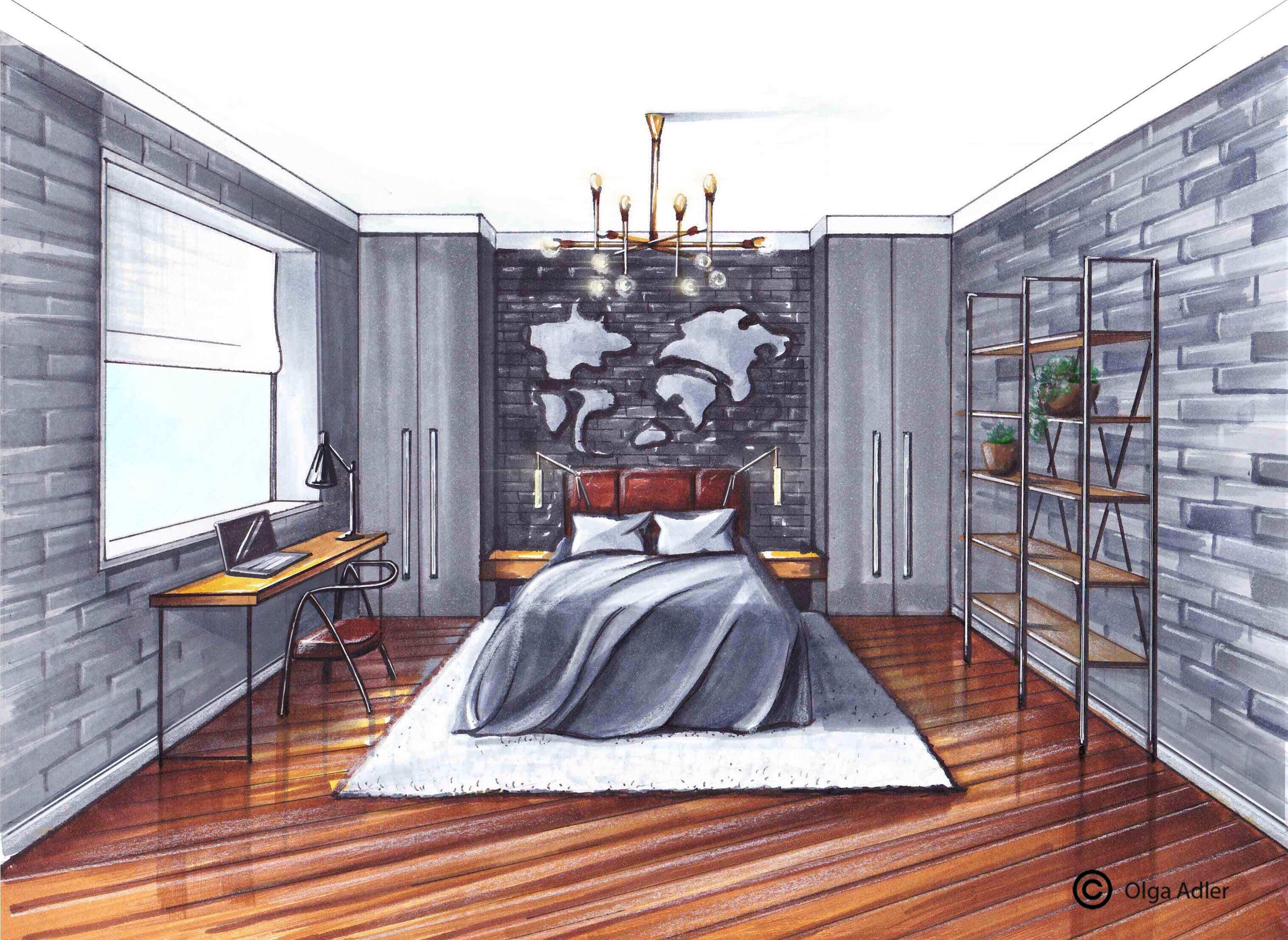 Grijze slaapkamer met bureau, bed en sfeer verlichting | Interior Sketch