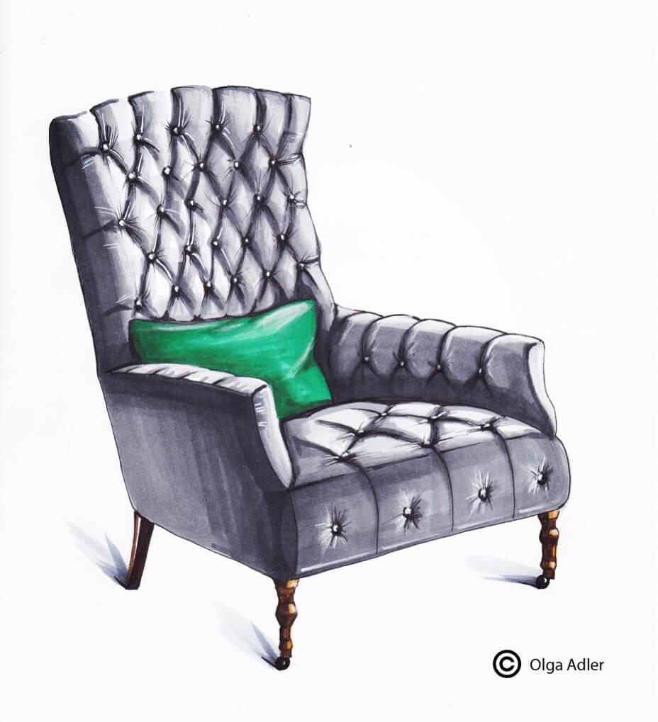 tekening chesterfield Velvet fauteuil met groen kussen | Interior Sketch