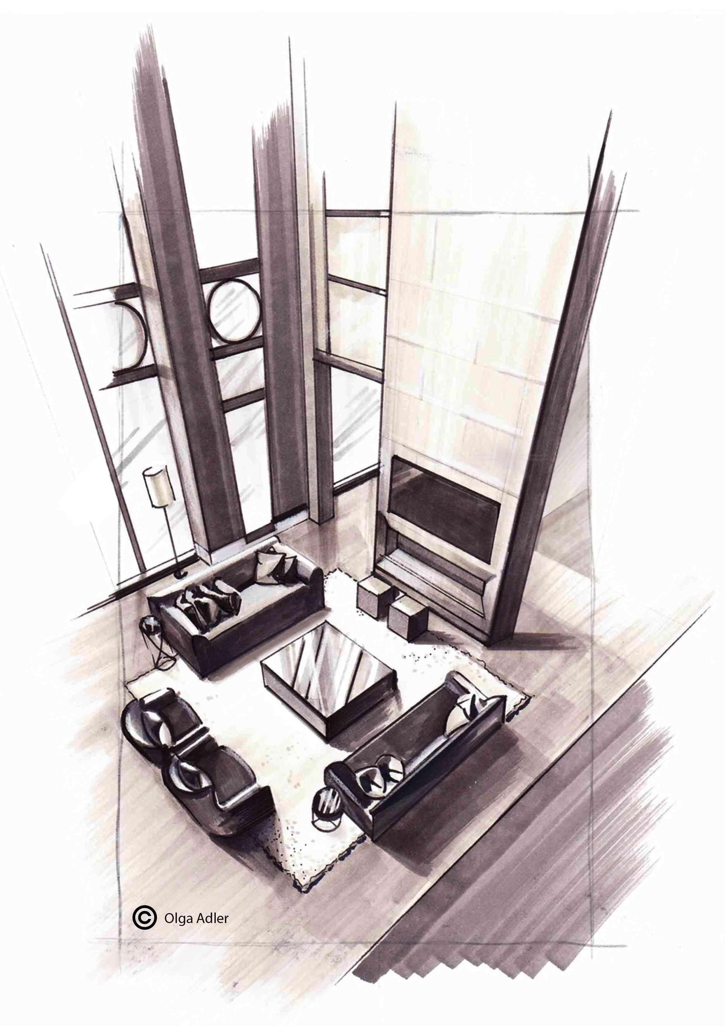 Woonkamer van boven gezien met open haard | Interior Sketch