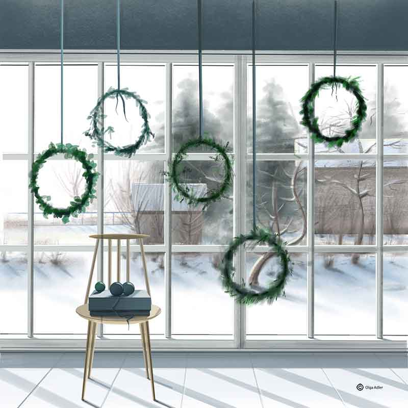 Kerst Olga Adler naar buiten kijken de sneeuw