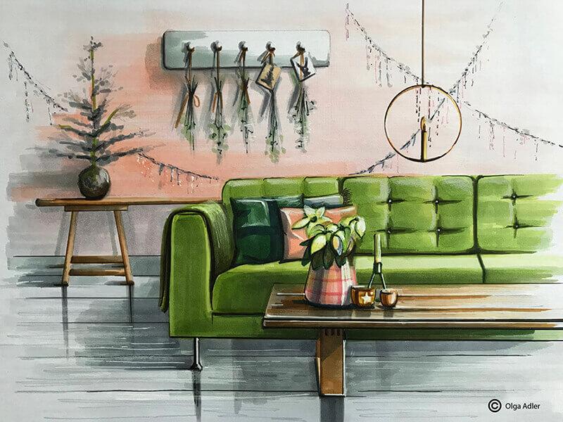 Kerst interieur met een groene bank en versiering
