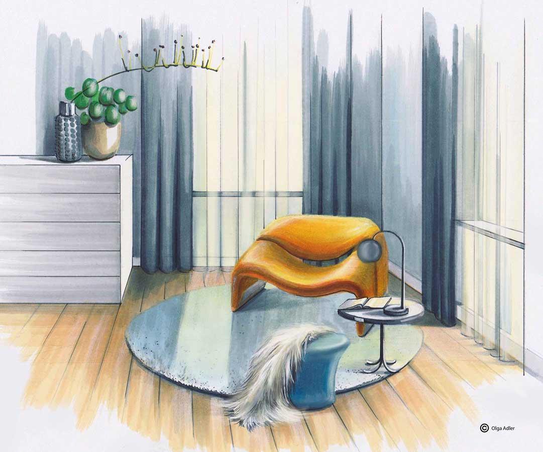 tekening slaapkamer Olga Adler artifort en tafel lampje