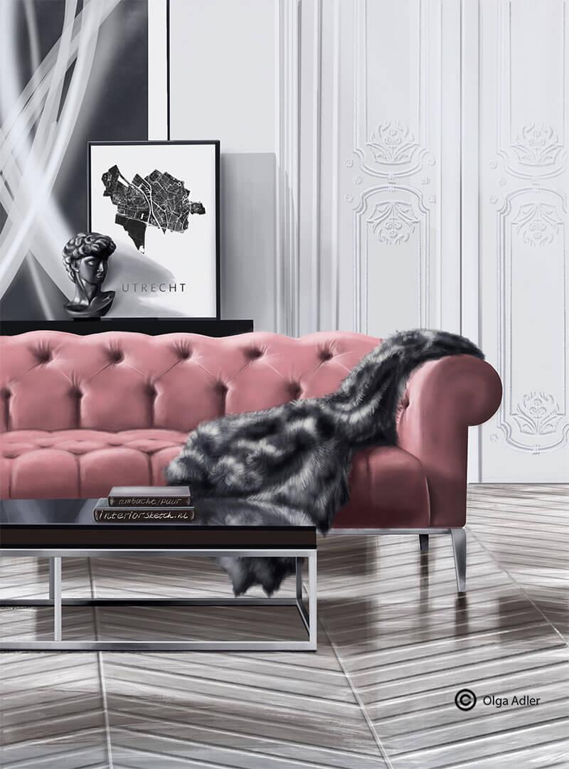 rose velvet bank met vacht