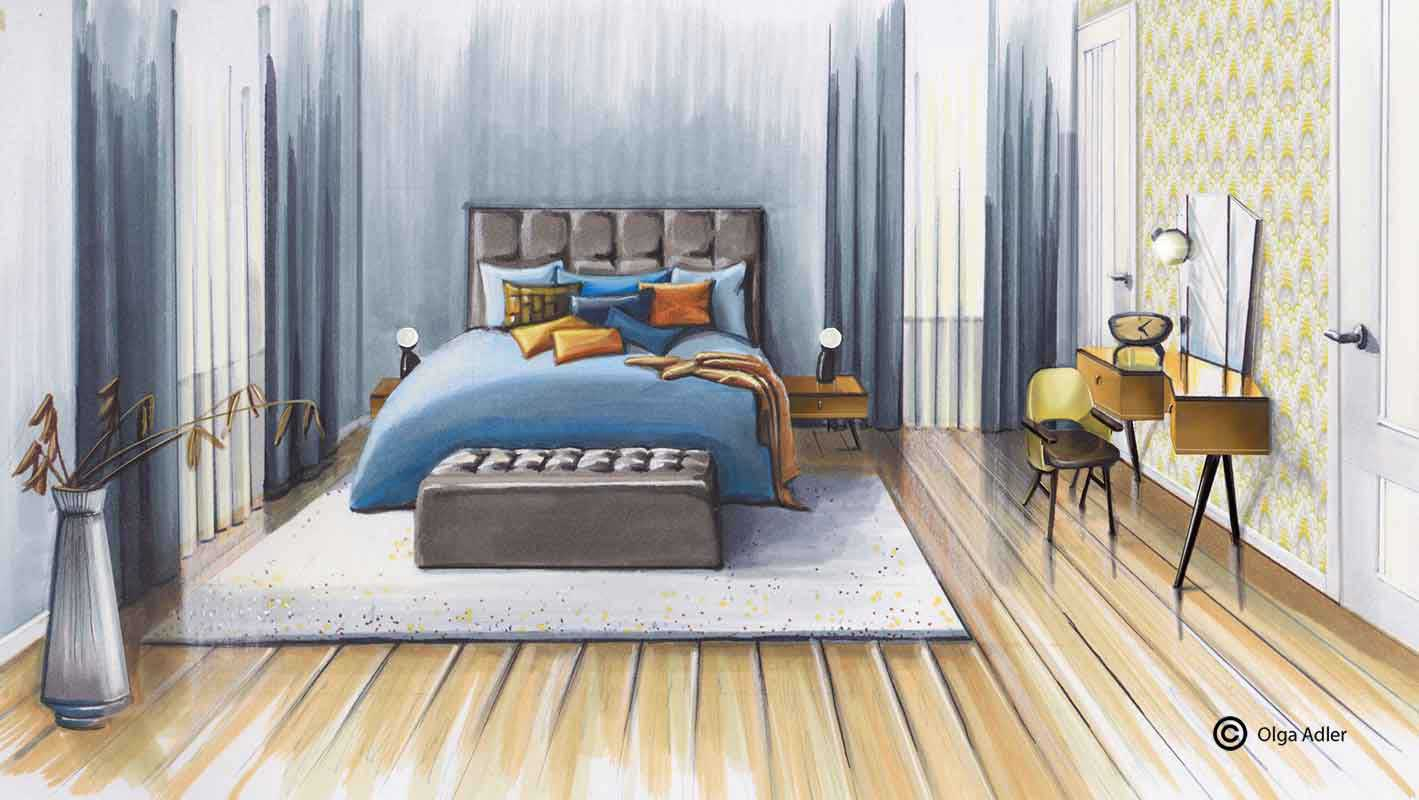 Perspectief tekening slaapkamer Olga Adler in perspectief