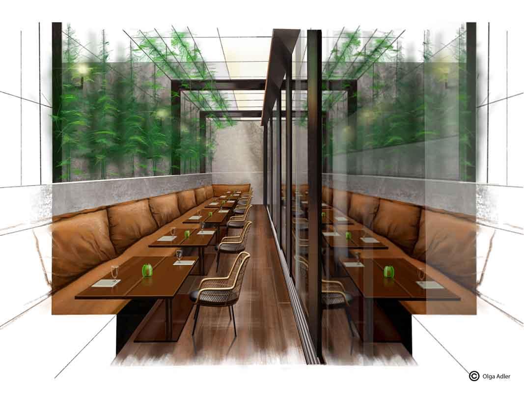 tekening in perspectief brasilia restaurant met bruine banken en groene planten