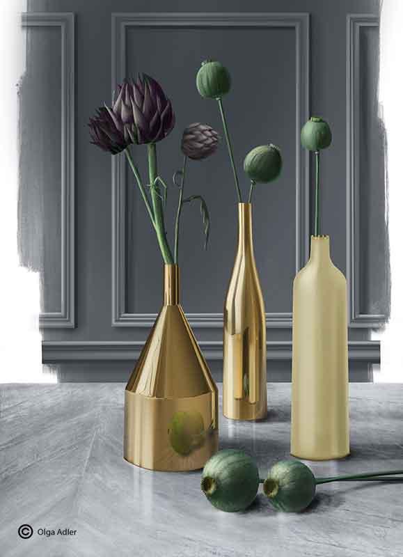 3D tekening perspectief decoratie gouden vazen