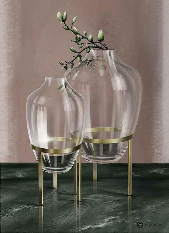 tekening in 3D perspectief glazen vazen met magnolia