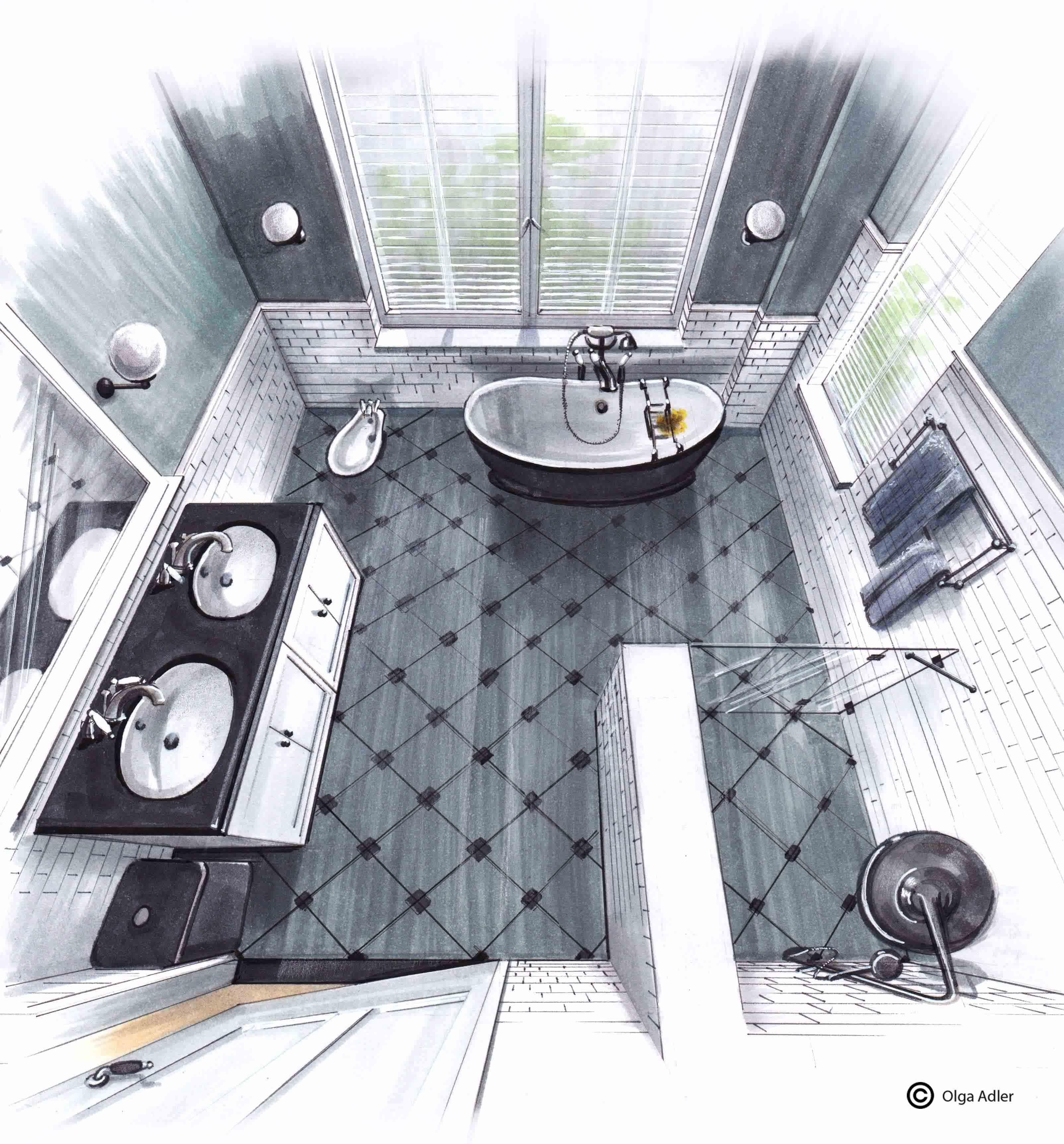 Badkamer Olga Adler van boven af 3D perspectief