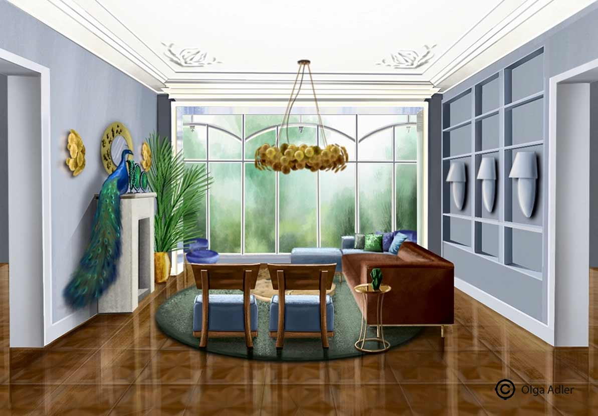 3D perspectief tekening woonkamer met pauw op de schouw