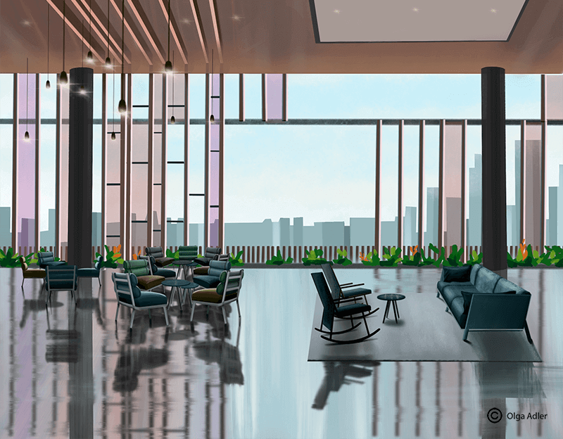 Lobby hotel in Singapore with city view