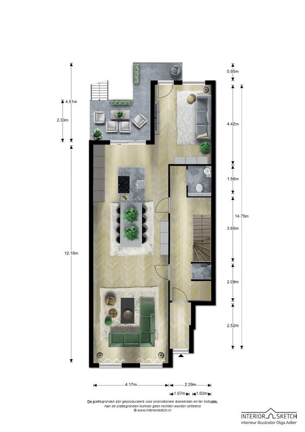 Jan Luijkenstraat 4 hs en II plattegrond Amsterdam