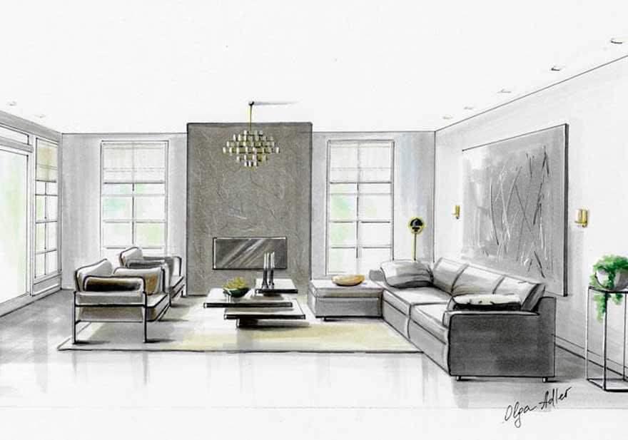 woonkamer perspectief tekening en veel licht