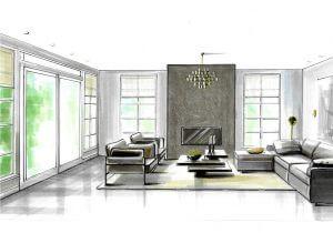 woonkamer perspectief tekening met veel ramen