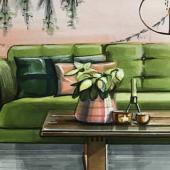 perspectief tekening woonkamer met kerst versiering