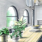 perspectief tekening woonkamer met planten