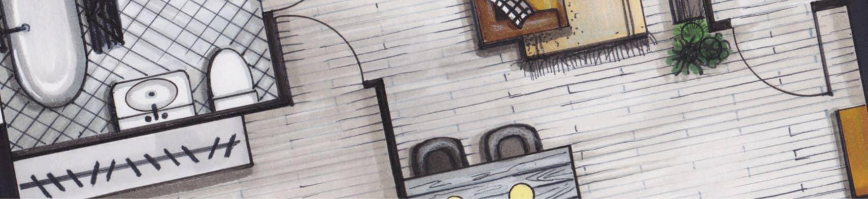 Plattegrond tekening tijdens de cursus
