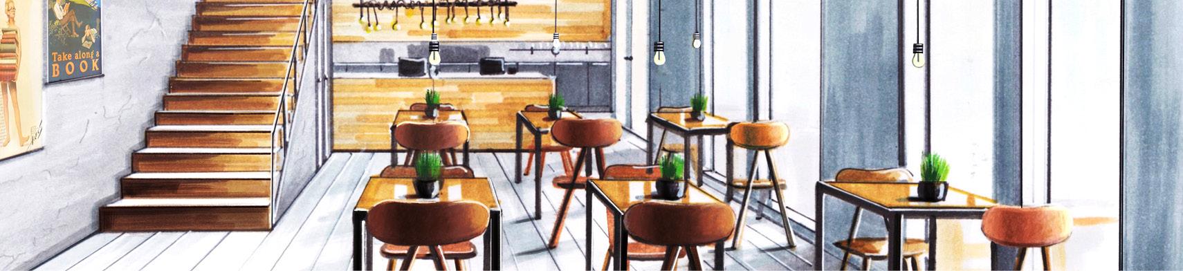 perspectief tekening van een café met trap