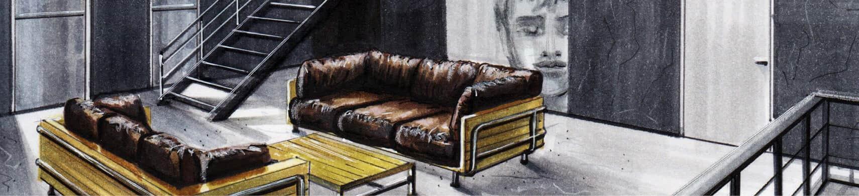 Perspectief tekening van een loft met 2 banken