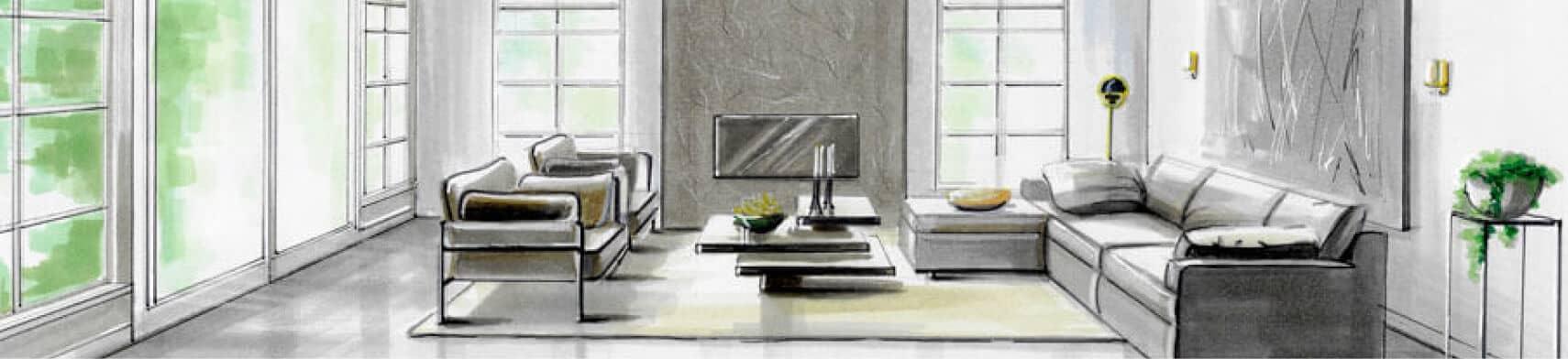 perspectief tekening woonkamer met veel licht