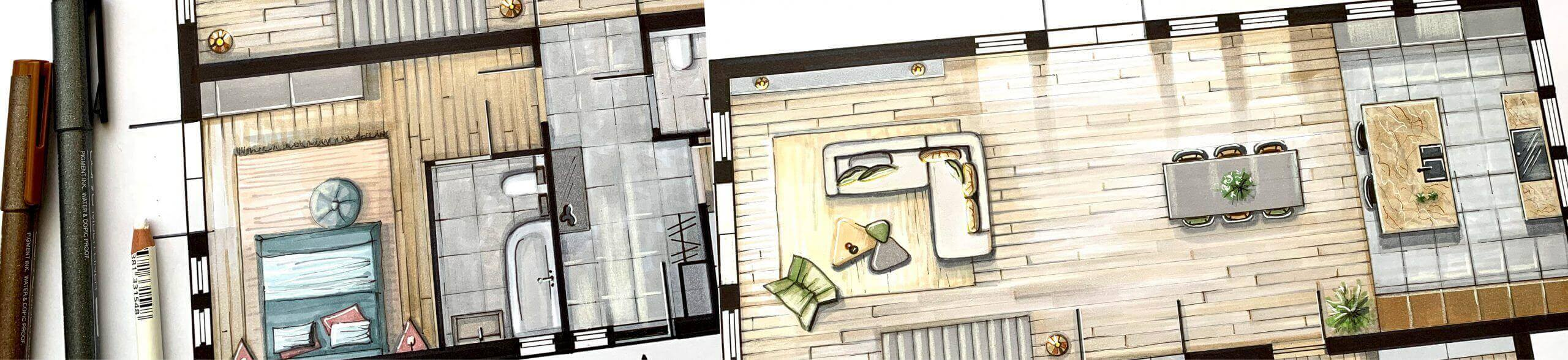 plattegrond tekening academy online perspectief tekenen Olga Adler